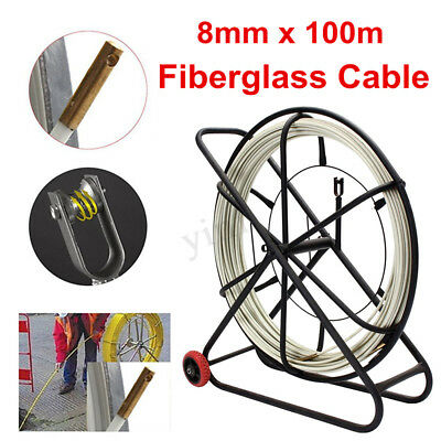 8mm 100m Fish Tape Fiberglass Wire Cable Running Rod Duct Puller Electric Reel