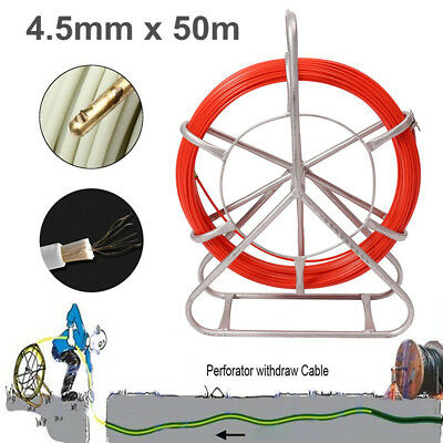 4.5mm 50m Fish Tape Fiberglass Cable Rod Duct Running Wire Puller Lead Rodder