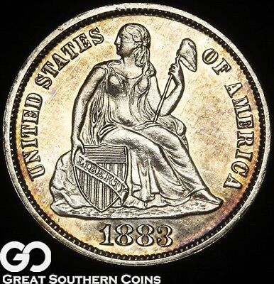 1883 Seated Liberty Dime PROOF, Beautiful Superb Gem PF, Only 1039 PR's Issued!