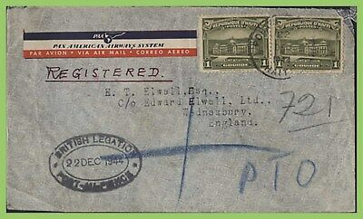 Haiti 1944 Registered cover to England, 'British Legation' R.S. cancel