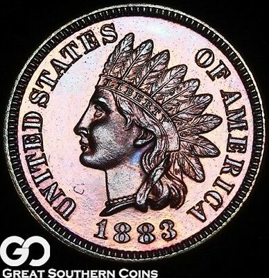 1883 Indian Head Penny PROOF, Gorgeous Superb Gem PF++, Nice Color ** Free S/H!