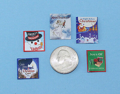 Adorable Set of 5 Dollhouse Miniature Christmas Books #HBS6
