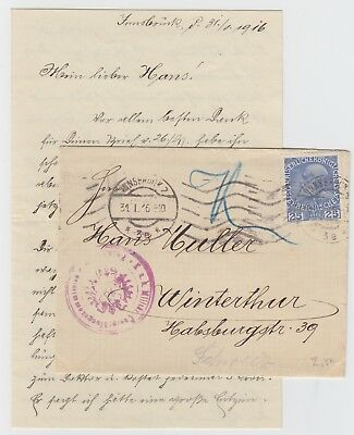 WW1 Austria Military Cover and Enclosed Letter 1916 Innesbruck
