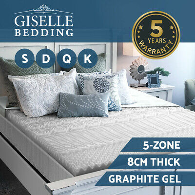 Giselle Bedding Memory Foam Mattress Topper Graphite Gel Bamboo 8cm Non Spring
