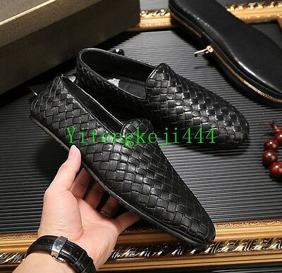 Men Genuine Leather Woven loafer  slip on driving leisure moccasins shoes Oxford