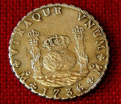 Almost UNCIRCULATED COND. 1736  8 reale Pillar Dollar- ROOSWIJK shipwreck 1739