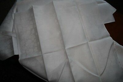 """11+3 Antique Linen Damask Napkins To Match With Damask Tablecloth 20"""" X 20"""" Squa"""