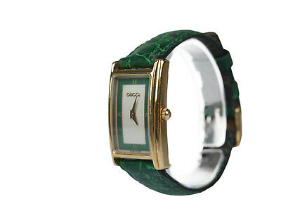Auth GUCCI 2600L Silver & Green Dial Leather Band Women's Watch GW10902L