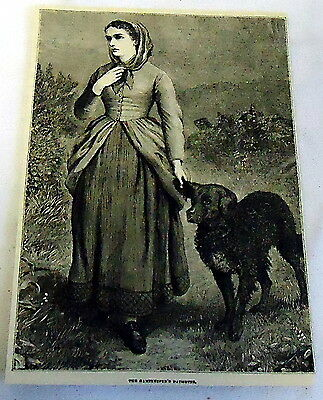 1882 magazine engraving ~ THE GAMEKEEPER'S DAUGHTER, young woman w/ her dog