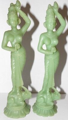 Stunning Pair of 1930s Indonesian Statues Figures - Hand-Carved from Pure Jade