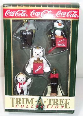 Coca-Cola Miniature Ornaments Set -  Penguin, Seal, Bears +