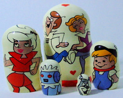 5pcs Hand Painted Russian Nesting Doll of Jetsons Large