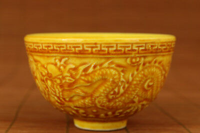 asian Chinese Old Yellow Porcelain Hand relief Dragon Statue Bowl Tea Cup