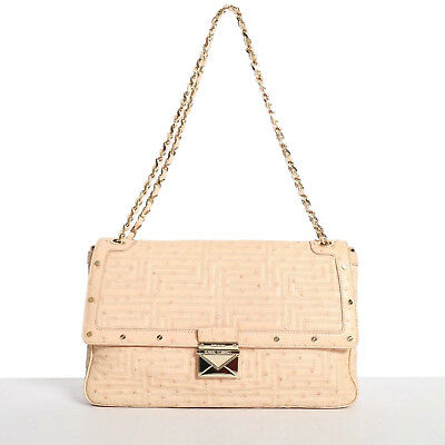 d60d8c4e2af5 GIANNI VERSACE COUTURE nude quilted ostrich gold studded shoulder leather  bag