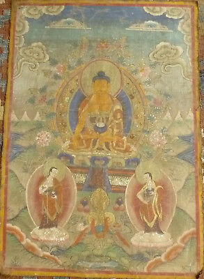 Antique Tibetan Thangka Painting of Buddha Shakyamuni w/ two Disciples, c.1900