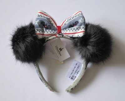 Disney Parks Holiday Christmas Minnie Pom Pom Gray Ugly Sweater Ears Headband