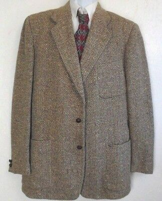"""Vintage Tweed Light Brown Leather Buttons Jacket Men's 42 XLong Chest 46"""""""