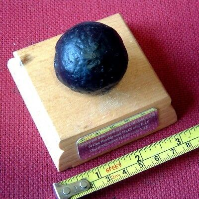 IRON GRAPESHOT on oak plinth from HMS COLOSSUS 1798 Shipwreck Isles of Scilly