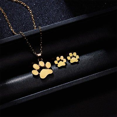 Cute Dog Footprint Cat Paw Pendant Necklace Earrings Jewelry Sets Women Gifts