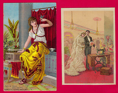 2 DOMESTIC SEWING MACHINE advertising Victorian Trade Cards, ca 1880