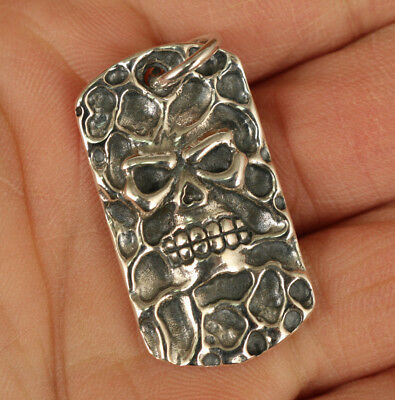 100% 925 Fine Silver Old Hand Carved fierce skull Head Statue Cool Pendant