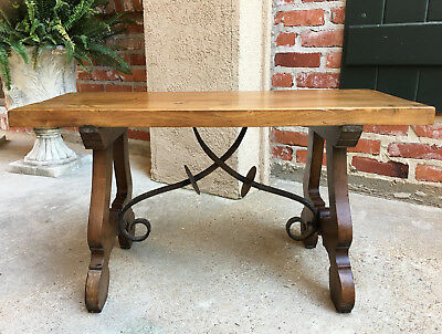 Antique French Oak Coffee End TABLE BENCH Catalan Spanish Iron Farm Country