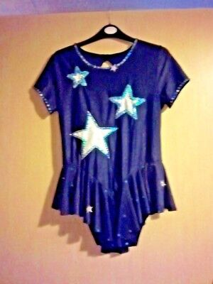 Baton twirling/Ice skating/Majorette Leotard Navy & Sequins. Size  M (12-14)