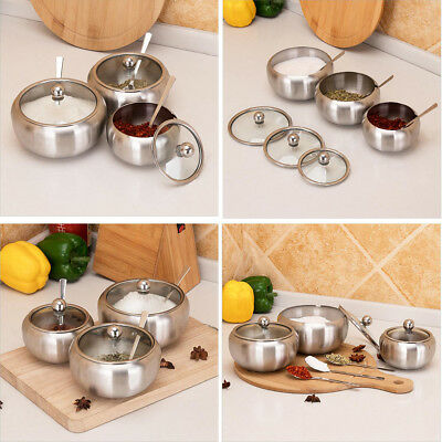 Stainless Steel Condiment Condiment Pots with Lids Serving Spoons