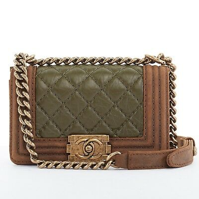 8c4d65e6c2570 CHANEL Boy Small brown suede khaki quilted leather gold chain shouulder bag