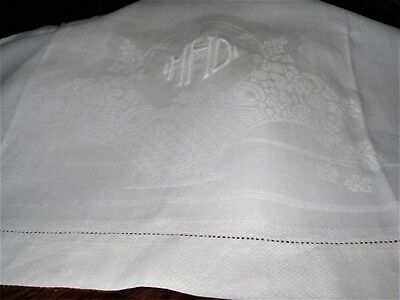"""EARLY MONO """"MHD"""" ANTIQUE LINEN DAMASK SHOW TOWEL ~FLOWER BASKET-20X37""""_ExCond"""