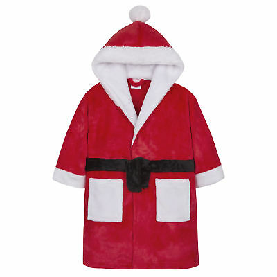 4Kidz Childrens Christmas Santa Hooded Dressing Gown Robe Red