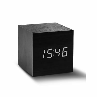 Gingko Cube Black Wood Effect Sound Activated White LED Modern Click Alarm Clock