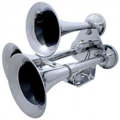 Chrome 3 Trumpet Heavy Duty Train Horn With Support Bracket