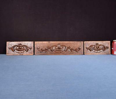 *French Carved Architectural Panels Solid Walnut Wood Salvage