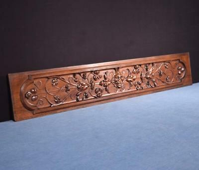 "*41"" French Carved Architectural Panel Solid Walnut Salvage with Face"