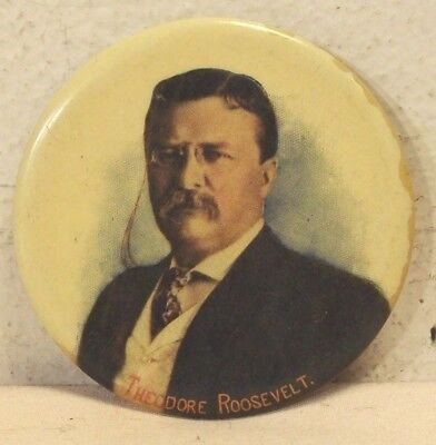 1900's~THEODORE ROOSEVELT~CELLULOID POCKET MIRROR~PRESIDENTIAL PROMOTION BUTTON~