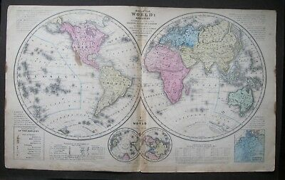 Original Antique 1839 Map of the World and Chart from Smith's Quarto 1852 Atlas