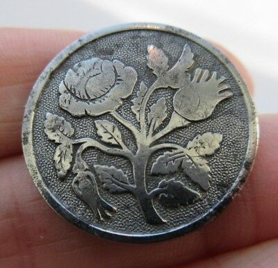 "Wonderful Antique~ Vtg 1- Piece Solid Steel Metal Picture BUTTON Roses 1"" (S37)"