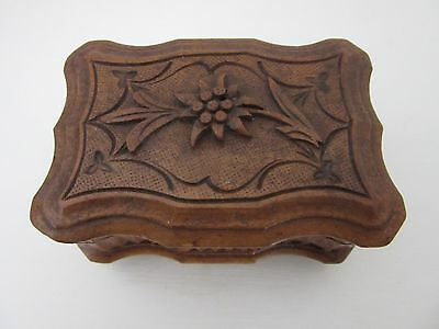 Antique Black Forest Hand Carved Edelweiss Box - Trinket Jewellery - £9.95