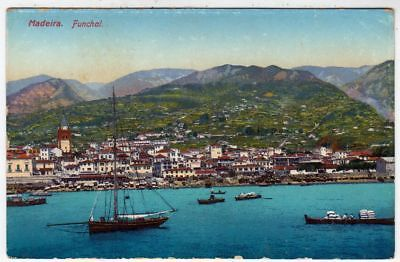MADEIRA - Portugal - Funchal Harbour - Sailing Yacht - c1920s era used postcard