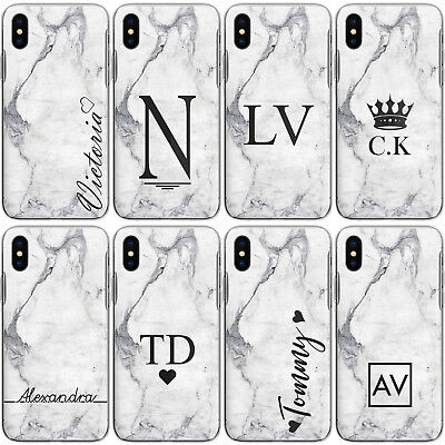 Personalised Initials Iphone Xs Max Xr 8 Case Marble Hard Cover For Apple Phones