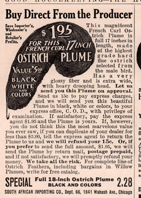 Ad Lot Of 3 1909 D Ads  Star Kaffir Ostrich Feather Co Black Drooping Fashion