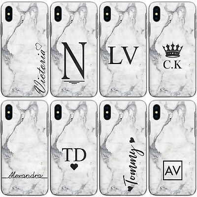 Personalised Initial A6 A7 A8 A9 Case Marble Hard Cover For Samsung Galaxy Phone