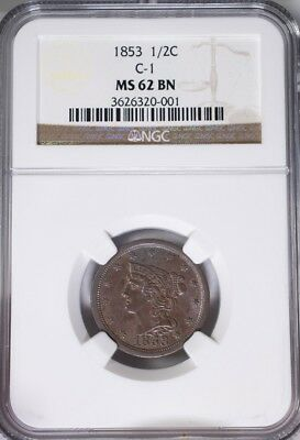 1853 Braided Hair Half Cent NGC MS62BN C-1, Mint Luster Obv. And Rev.