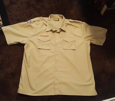 Boy Scouts Of America Uniform Shirt Men's Adult Size 2Xl/xxl-Flag Patch-Euc