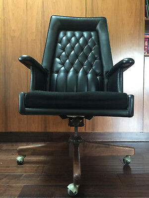 Vintage 1950s 1960s Mid Century Modern High Back Black EXECUTIVE OFFICE CHAIR