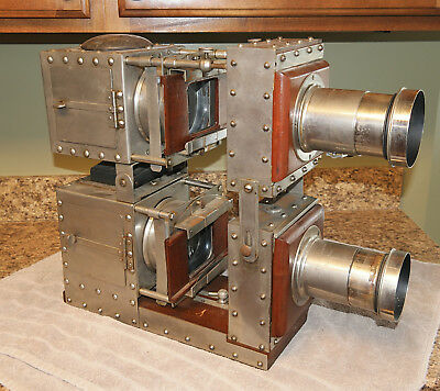 1890s McAllister BI-UNIAL riveted nickel DECORATIVE projector MAGIC LANTERN