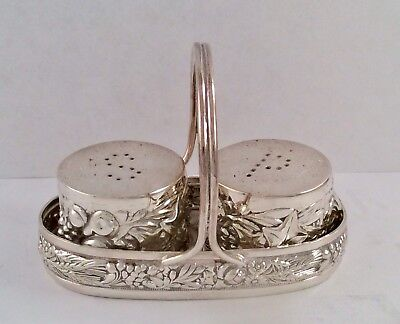 Lovely INDIAN Art Nouveau SOLID SILVER (Acid Tested) 800 Standard Condiment Set