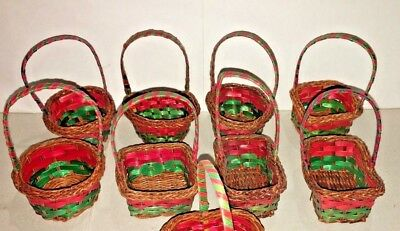15 Red & Green Mini Wicker Baskets Party Favors Crafts Christmas Holiday New