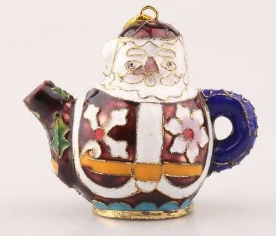 Vintage Chinese Cloisonne Statue Teapot Santa Claus Old Handmade Christma Gift